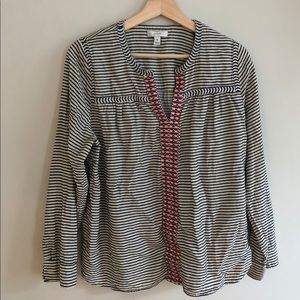 J crew embroidered peasant top striped size 10